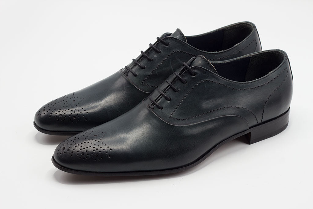 BLUE LEATHER OXFORD LACE UP WITH MEDALLION TOE