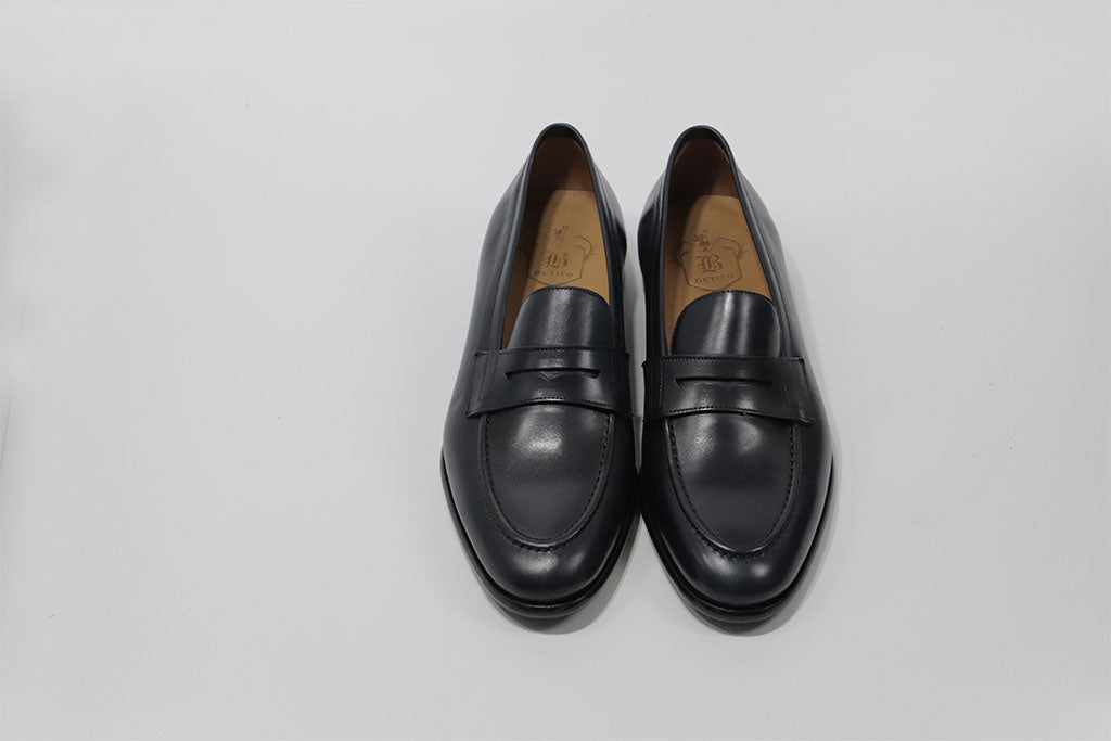 BLUE LEATHER PENNY LOAFER WITH APRON STITCHED TOE