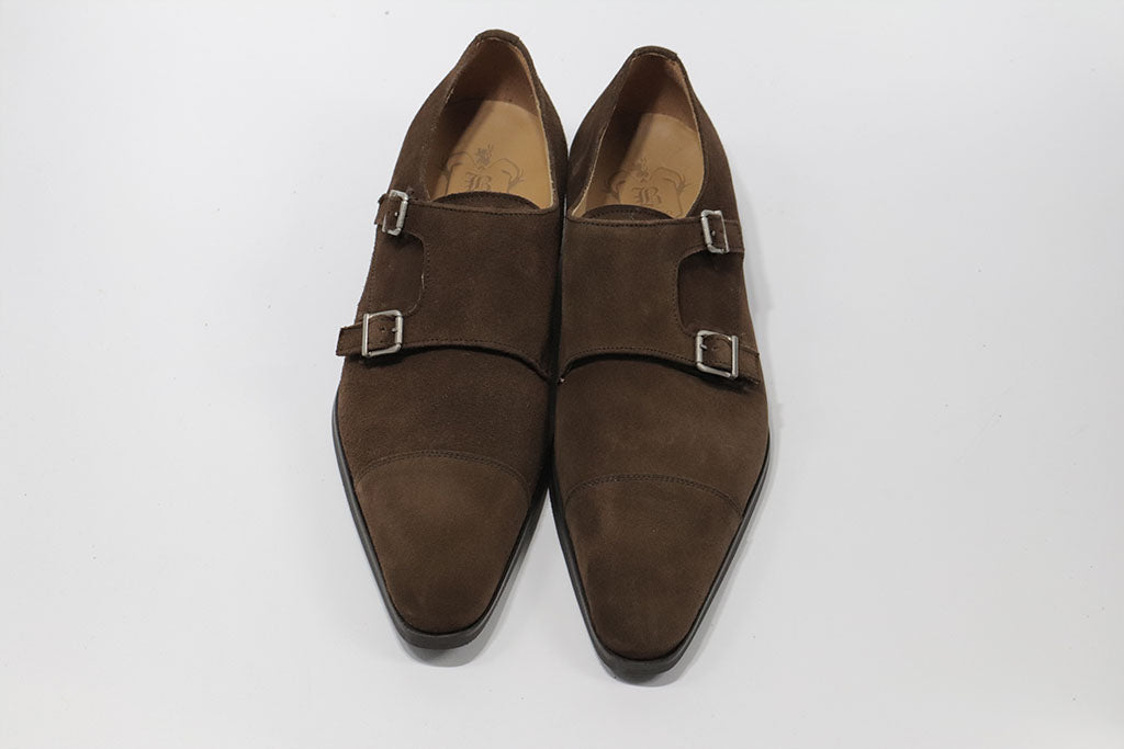 BROWN SUEDE DOUBLE MONK STRAP WITH PLAIN CAP TOE