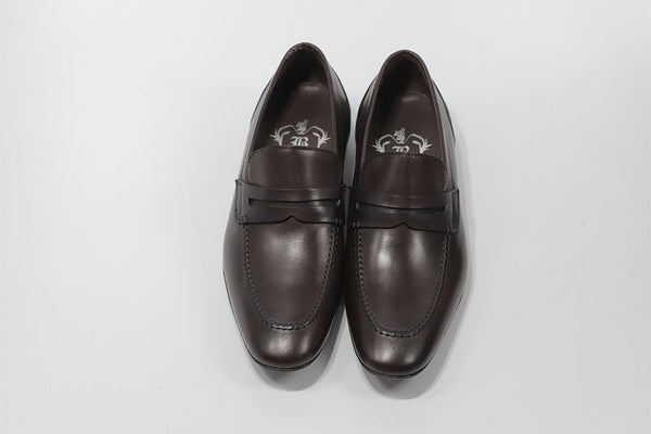 BROWN LEATHER PENNY LOAFER WITH APRON STITCHED TOE
