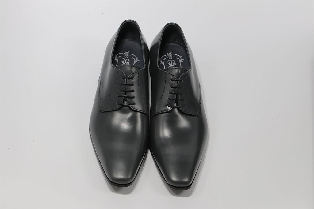 GREY LEATHER DERBY LACE UP WITH PLAIN TOE