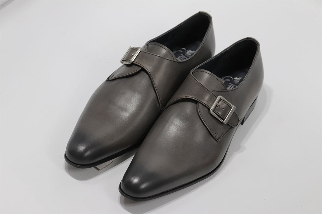 GREY LEATHER SINGLE MONK STRAP WITH PLAIN TOE