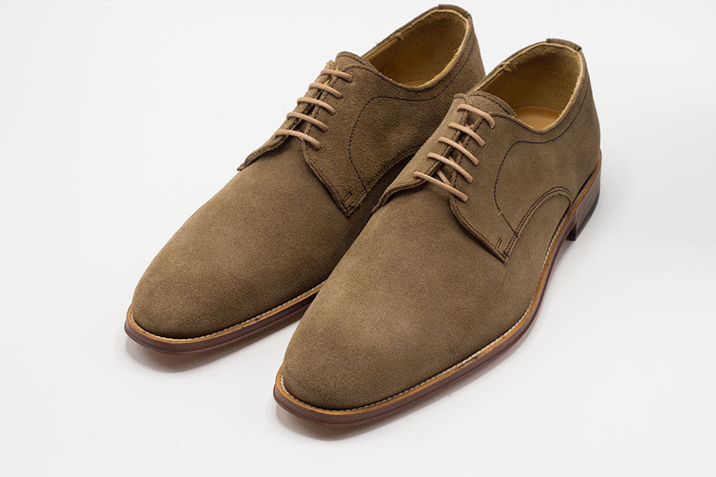 TAUPE SUEDE DERBY LACE UP WITH PLAIN TOE