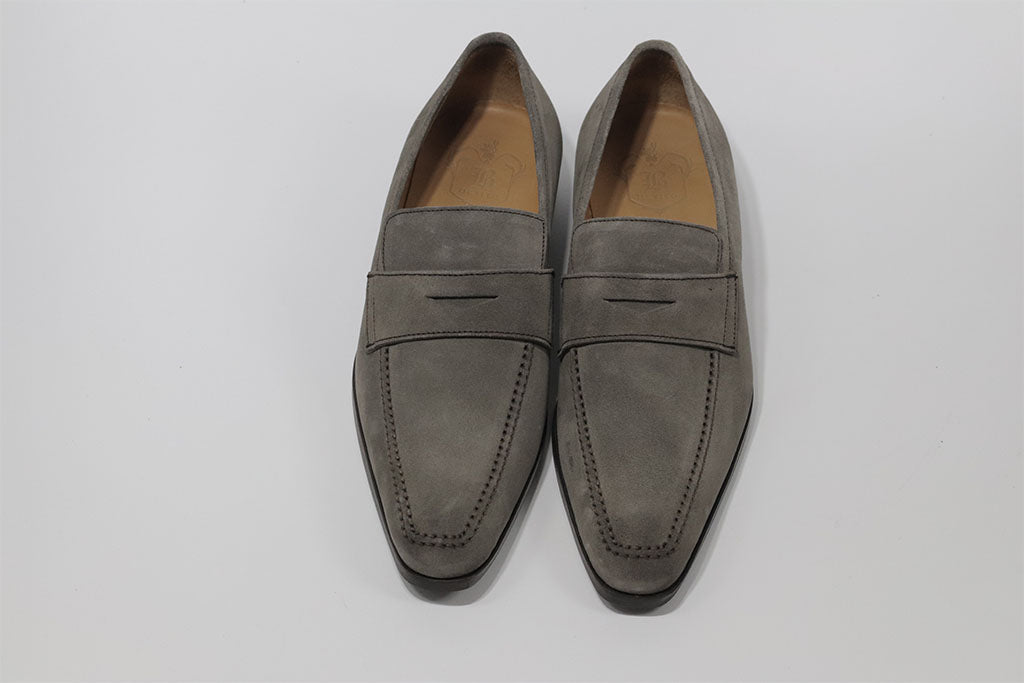 TAUPE PENNY LOAFER WITH APRON STITCHED TOE