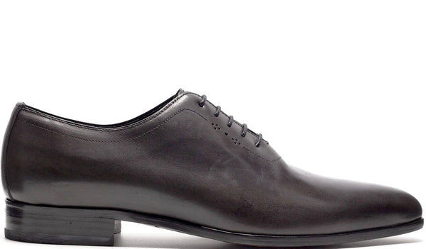 GREY LEATHER OXFORD LACE UP WHOLE CUT WITH PERFORATED DETAILS