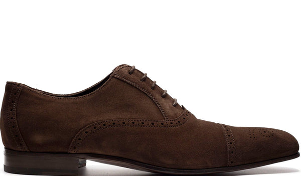 BROWN SUEDE LEATHER OXFORD LACE UP WITH PERFORATED DETAILS AND MEDALLION TOE