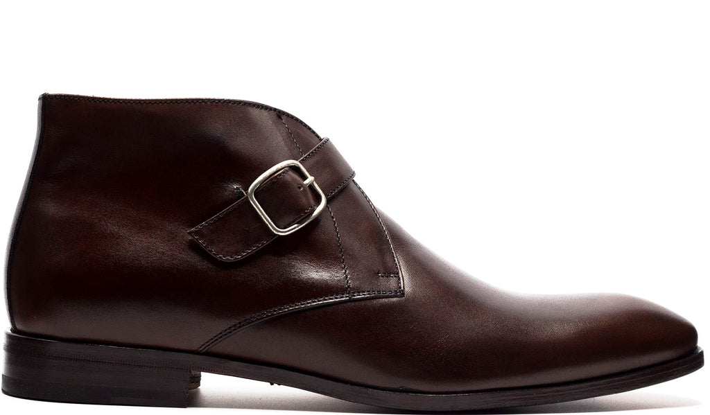 BROWN LEATHER SINGLE MONK STRAP ANKLE BOOT