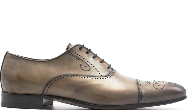 GREY LEATHER OXFORD LACE UP WITH MEDALLION CAP TOE