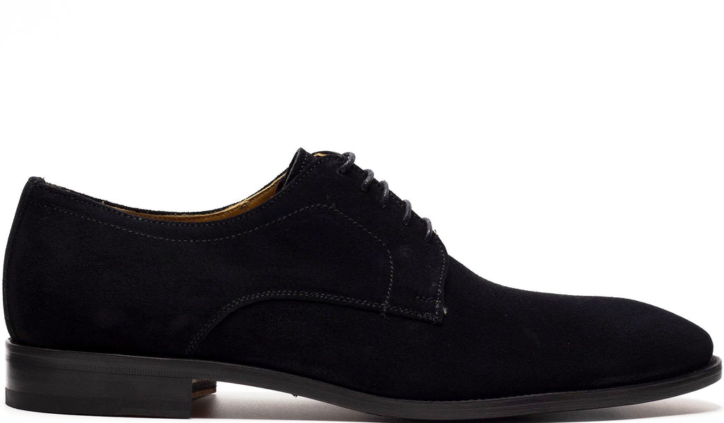 BLACK SUEDE DERBY LACE UP WITH PLAIN TOE