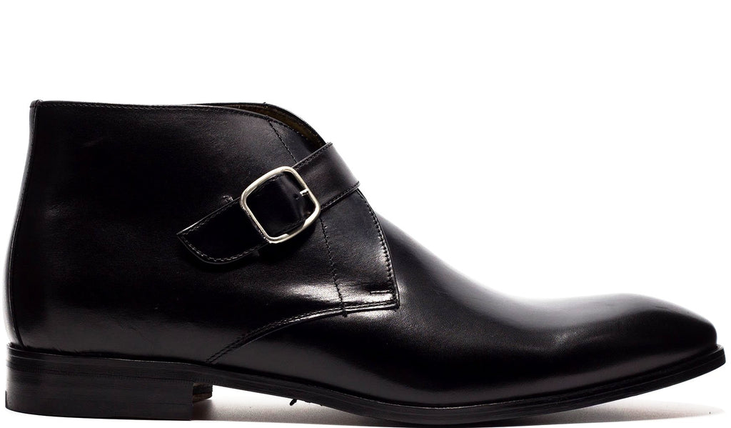 BLACK LEATHER SINGLE MONK STRAP ANKLE BOOT