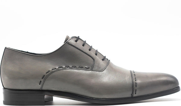 GREY LEATHER OXFORD LACE UP WITH PLAIN CAP TOE