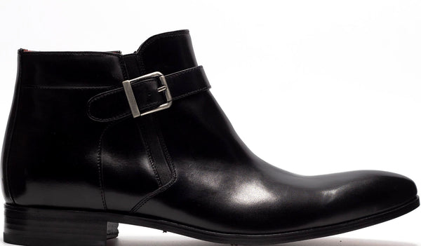 BLACK LEATHER SINGLE BUCKLE ANKLE BOOT WITH MEDIAL SIDE ZIP AND PLAIN TOE