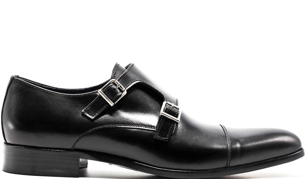 BLACK LEATHER DOUBLE MONK STRAP WITH PLAIN CAP TOE