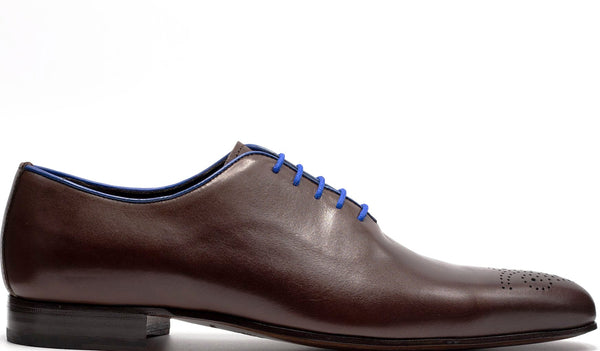 BROWN LEATHER OXFORD LACE UP WHOLE CUT WITH MEDALLION TOE