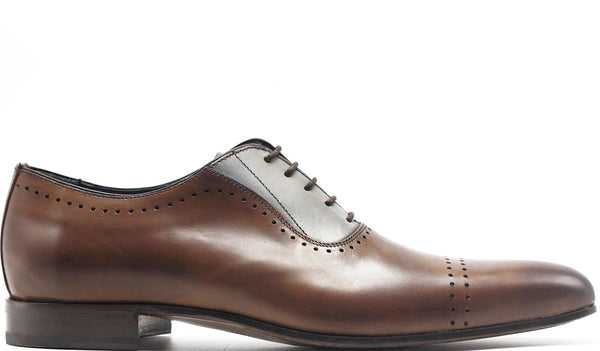 CHOCOLATE LEATHER TWO TONE OXFORD LACE UP WITH MID-TOE PERFORATED DETAILS PLAIN TOE