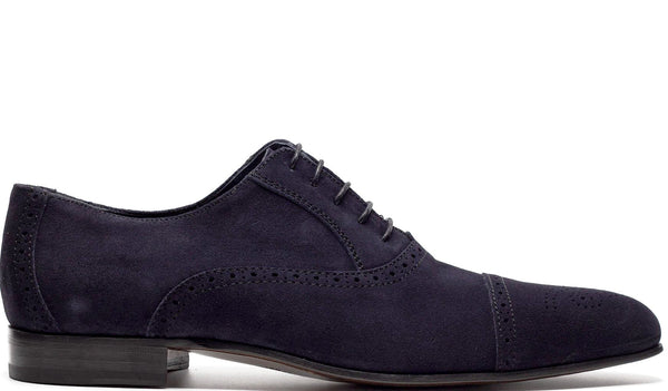 NAVY SUEDE LEATHER OXFORD LACE UP WITH PERFORATED DETAILS AND MEDALLION TOE