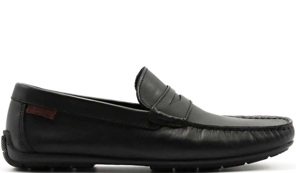 EURO BLACK LISO DRIVING SHOE WITH PENNY KEEPER AND HAND STITCHED MOC TOE
