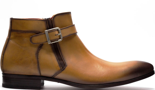 BROWN LEATHER SINGLE BUCKLE ANKLE BOOT WITH MEDIAL SIDE ZIP AND PLAIN TOE