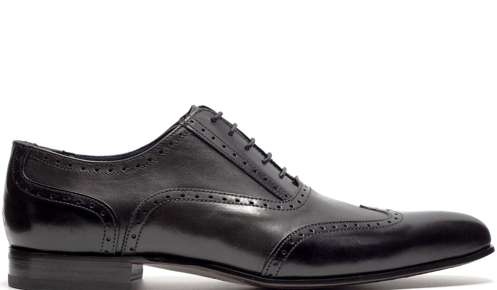 BLACK AND GREY OXFORD WINGTIP LACE UP WITH PERFORATED DETAILS PLAIN TOE