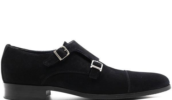 BLACK SUEDE DOUBLE MONK STRAP WITH PLAIN CAP TOE