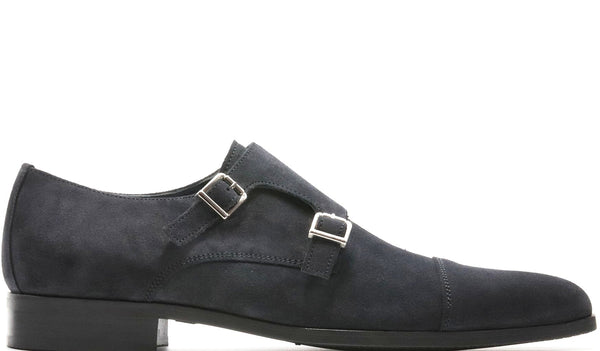 BLUE SUEDE DOUBLE MONK STRAP WITH PLAIN CAP TOE