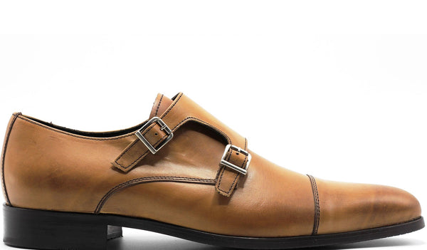 MAN-CALF RAMATO DOUBLE MONK STRAP WITH PLAIN CAP TOE