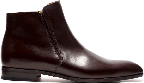 BROWN LEATHER CHELSEA BOOT WITH PLAIN TOE
