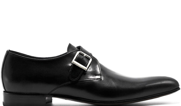 BLACK LEATHER SINGLE MONK STRAP WITH PLAIN TOE