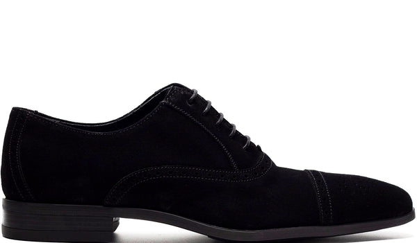 BLACK SUEDE OXFORD LACE UP WITH PERFORATED DETAILS AND MEDALLION TOE