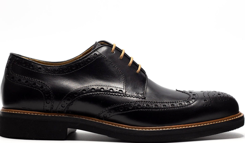 BLACK LACE MARON DERBY WINGTIP LACE UP WITH PERFORATED DETAILS MEDALLION TOE