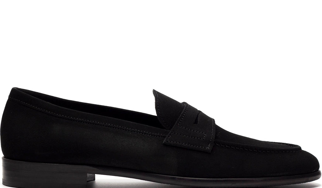 BLACK SUEDE PENNY LOAFER WITH APRON STITCHED TOE