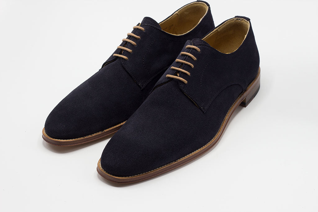 NAVY OFF-WHITE SOLE DERBY LACE UP WITH PLAIN TOE
