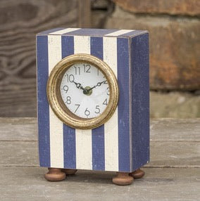 Blue and White Striped Clock