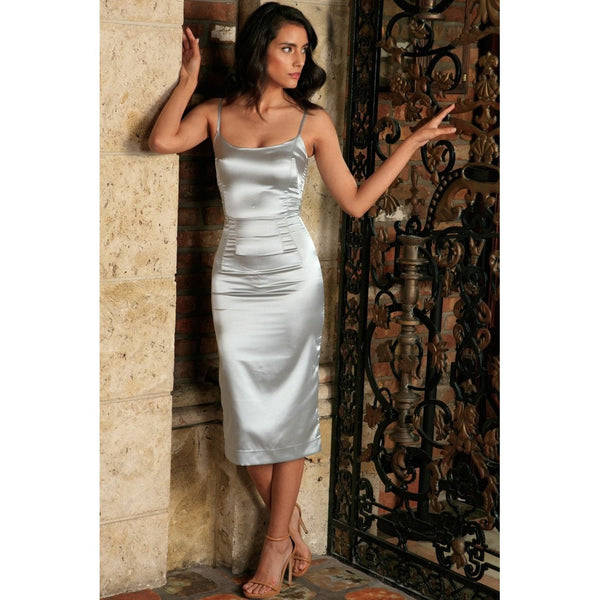 Silver Grey Sleeveless Bodycon Evening Cocktail Midi Dress - Women