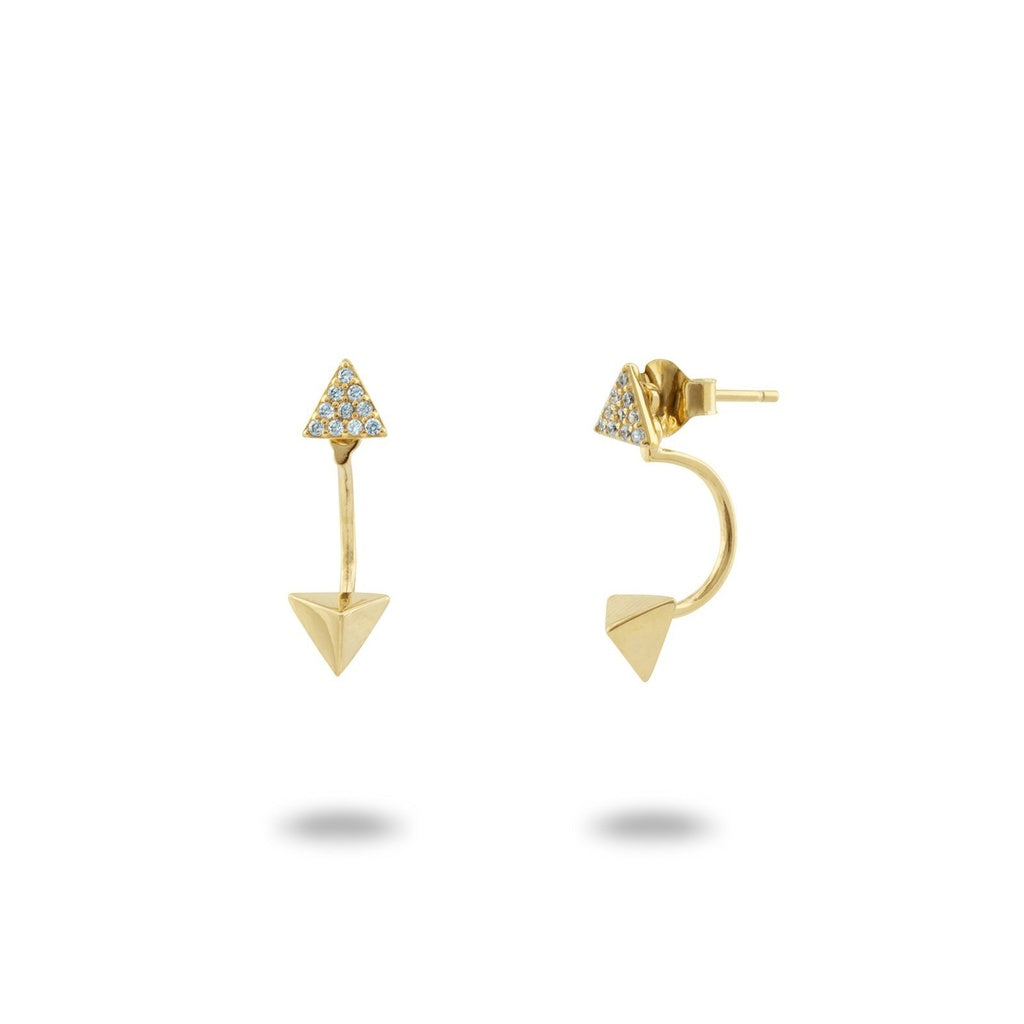 18k Gold Plated Sterling SIlver Ear Jacket Pyramid CZ Cuff Stud Earrings