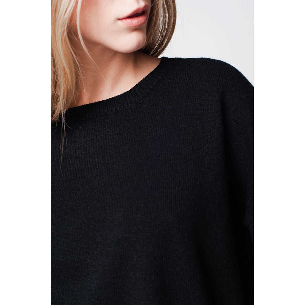 Black soft knit jersey with dropped shoulders
