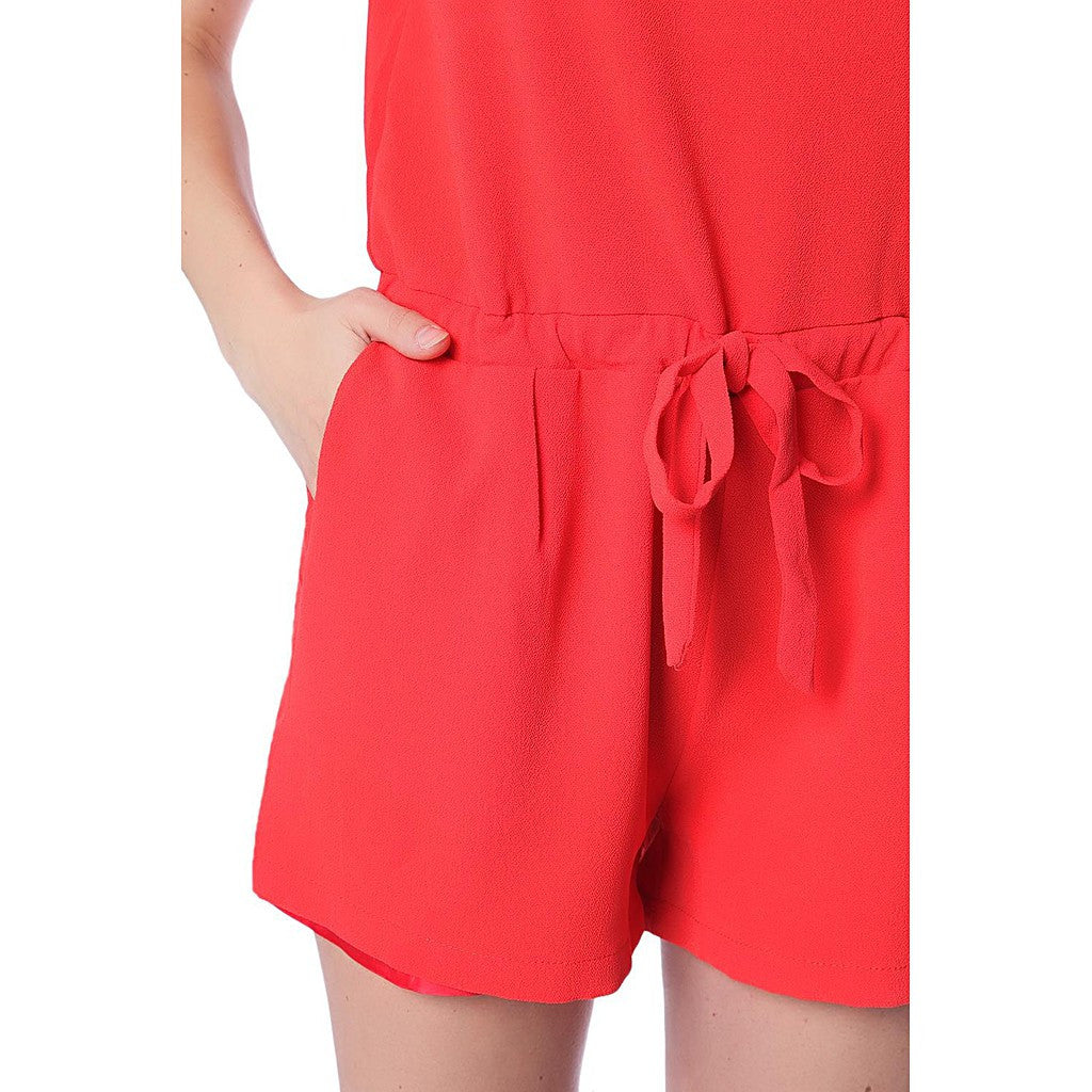 Coral romper with cross back and drawstring waistband