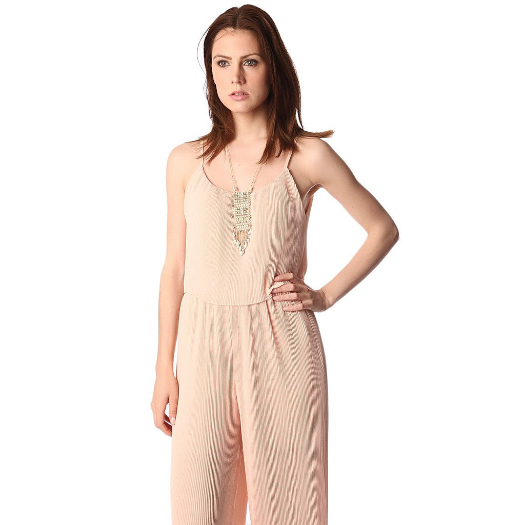 Nude double layer jumpsuit in pleat fabric
