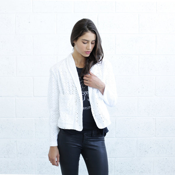 Embroidered Tailored Jacket, White