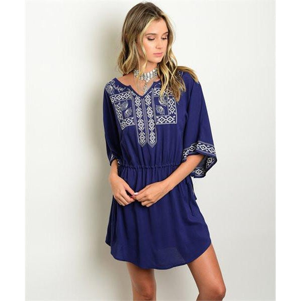Women's long sleeve Casual Navy Embroidery Detail dress
