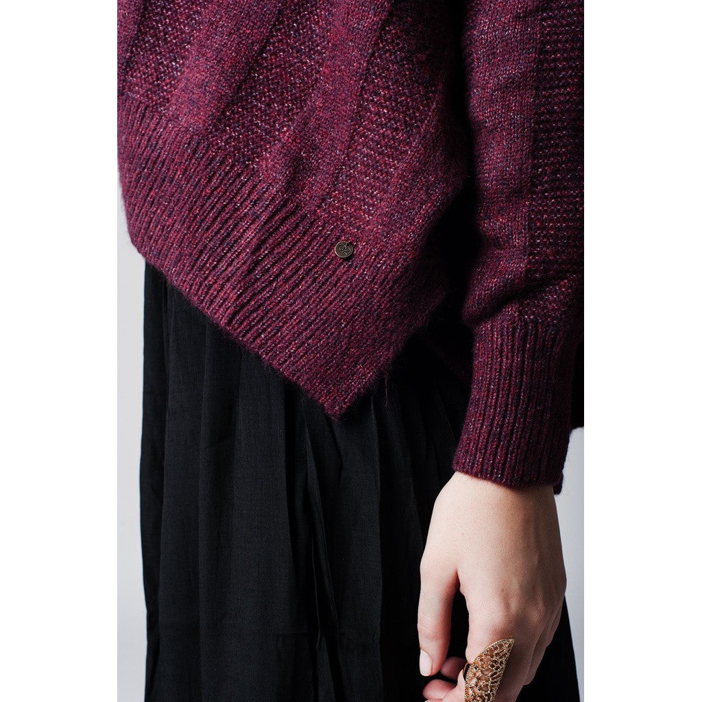 Purple maxi sweater with dropped shoulders