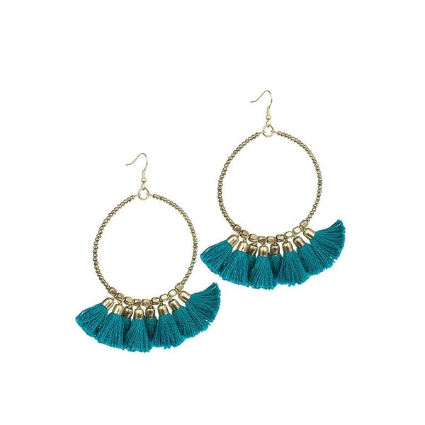 Turquoise Fringe Hoop Earrings