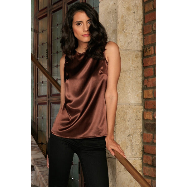 Chocolate Brown Charmeuse Sleeveless Dressy Party Cocktail Top - Women