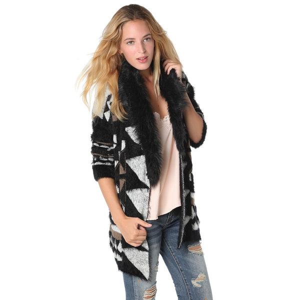 Print cardigan with super soft faux fur collar