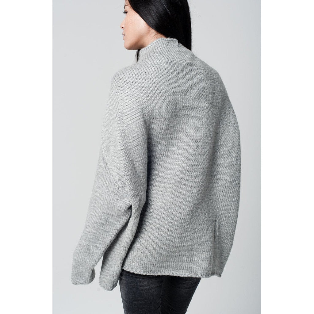 Grey oversize jersey with turtle neck and dropped shoulders