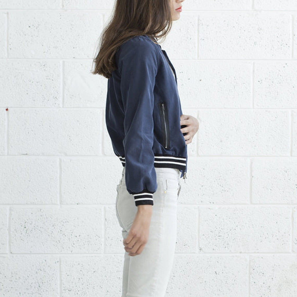 Bomber Jacket -Navy Blue .