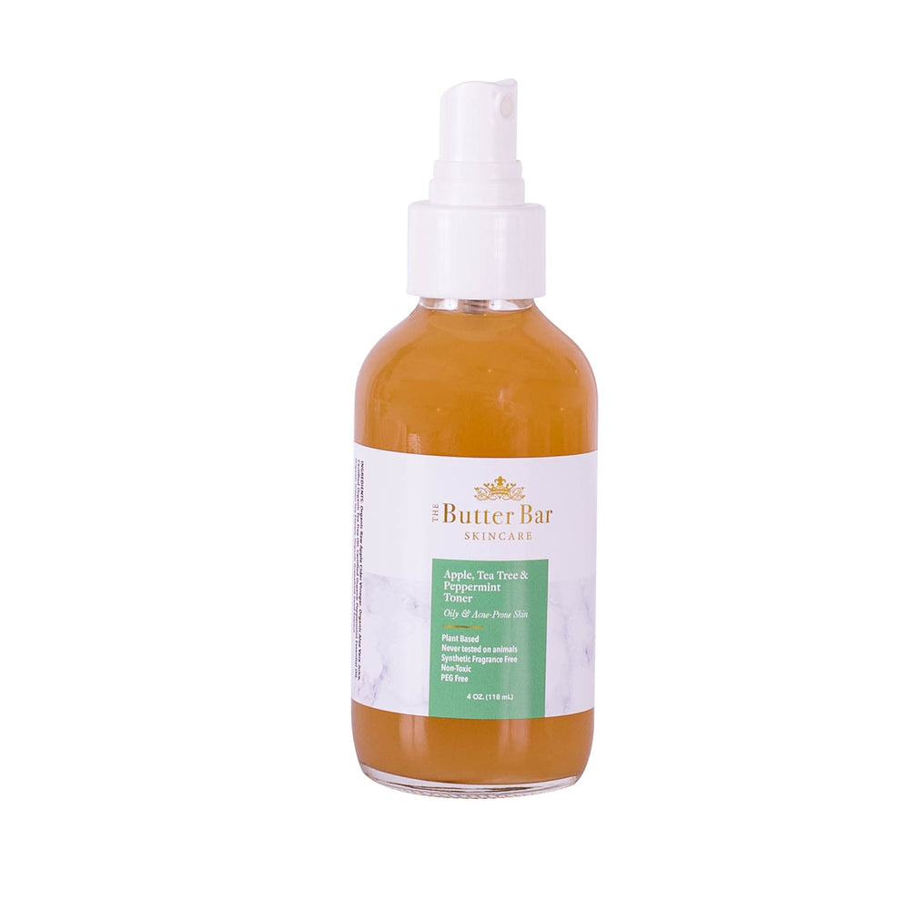 Apple, Tea Tree and Green Tea Face Toner (Oily Acne-Prone Skin) - Natural Skincare