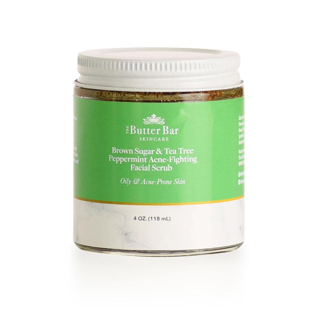 Brown Sugar & Tea Tree Peppermint Acne-Fighting Facial Scrub (Oily Acne-Prone Skin) - Natural Skincare