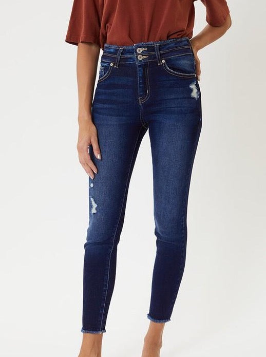 Kan-Can-Double button ankle skinny