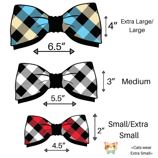 Buffalo Plaid Rose Gold Bow Tie - Paws N Claws Couture